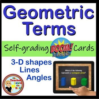 Geometry Terms Digital Practice BOOM Cards - 24 Self-checking cards!