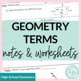 Geometry Terms- Guided Notes and Worksheet
