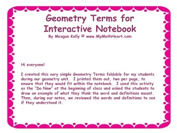 Geometry Terms - Insert for Interactive Notebook