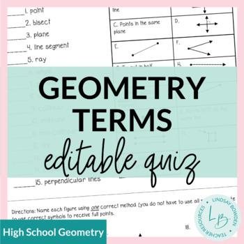 Geometry Terms Quiz