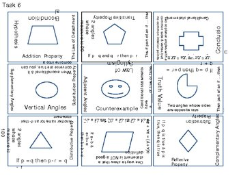 Geometry Terms Review Matching Game