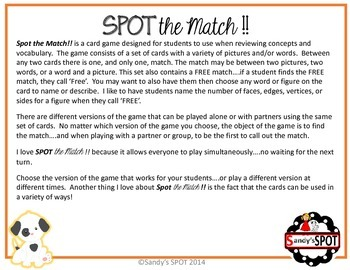 PLANE AND SOLID FIGURES VIRGINIA SOL Grades 3-6 SPOT the Match Game TEST PREP