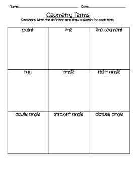Geometry Terms Worksheet