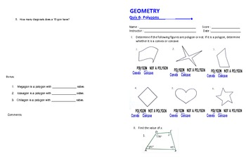 Geometry Test: 12 quizzes complete, high school level