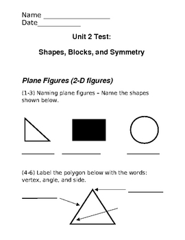 Geometry Test - 2nd Grade VA SOLs - Based on Investigations