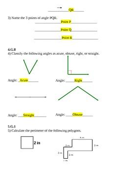 Geometry Test - 5th Grade