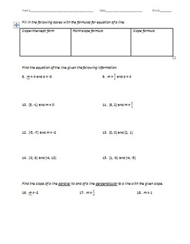 Geometry Test - Angles, Segments, Slope, & Equation of Line