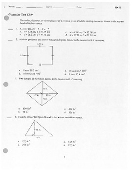 Geometry Test - Area and Probability