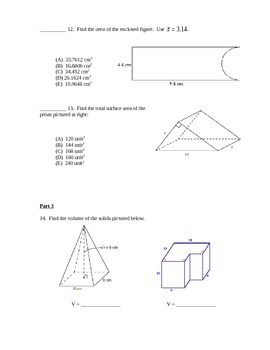 Geometry Test - Surface Area and Volume