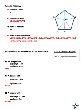 Geometry Test:  Area of Polygons