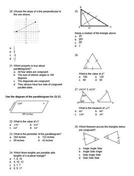 Geometry Test: Basics for High School, Editable
