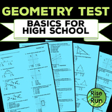 Geometry Test: Basics for High School, Editable