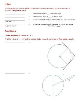 Geometry Test - Circles