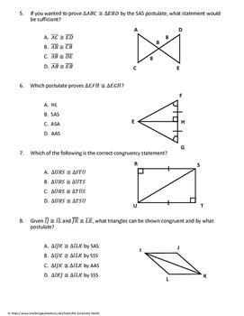 Geometry Test: Congruent Triangles