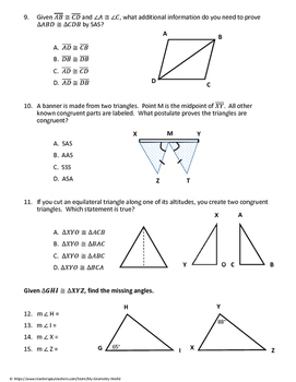 Geometry Test: Congruent Triangles