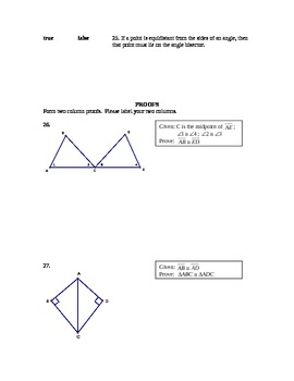 Geometry Test Congruent/Isosceles triangles and terms