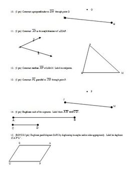 Geometry Test: Constructions Fall 2003 two versions; three pages each