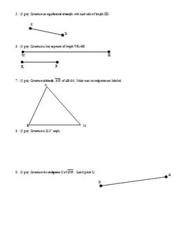 Geometry Test: Constructions Fall 2003 two versions; three pages each (Editable)