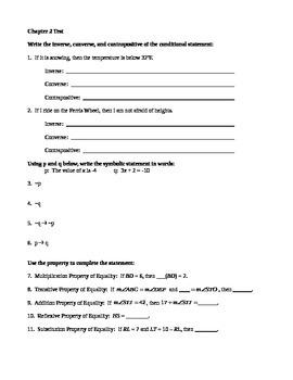 Geometry Test - If-Then Statements & Properties