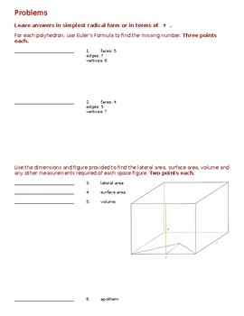 Geometry - Test - Lateral and Surface Area
