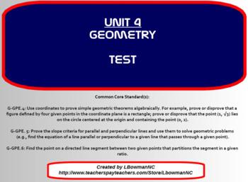 Geometry Test (Math 1)