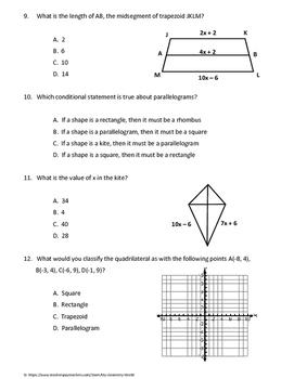 Geometry Test: Quadrilaterals