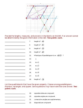Geometry Test - Quadrilaterals