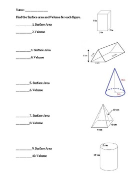 Geometry Test/Quiz/Worksheet  Volume and Surface Area