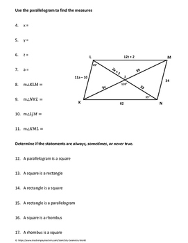 Geometry Test Review: Quadrilaterals