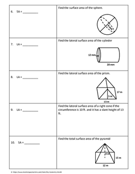 Geometry Test Review: Surface Area