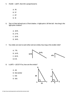 Geometry Test: Scale Factor, Similar Triangles,  and Special Right Triangles