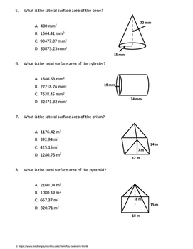 Geometry Test: Surface Area