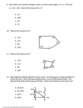 Geometry Test: Triangles and Polygons