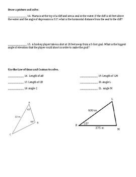 Geometry Test: Trigonometry