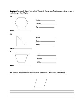 Geometry Test and Open Response