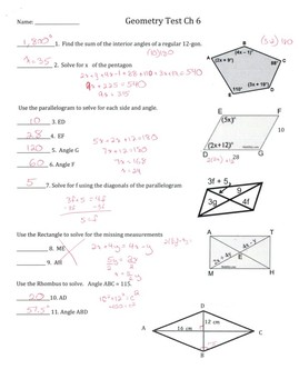 Geometry Test and Study Guide Polygon and Angles