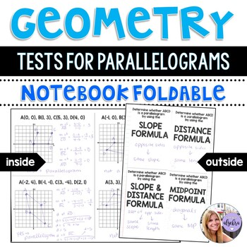 Geometry - Tests for Parallelograms - Coordinate Geometry Foldable