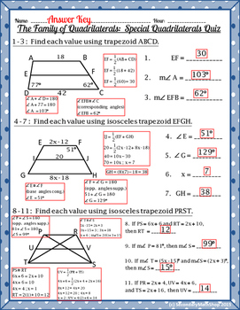 Quadrilaterals - The Family of Quadrilaterals: Special Quadrilaterals Quiz