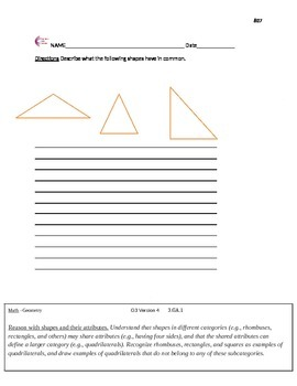 Geometry Third Grade Common Core Math Worksheets