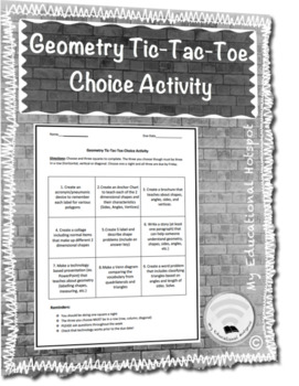 Geometry Tic-Tac-Toe Choice Activity