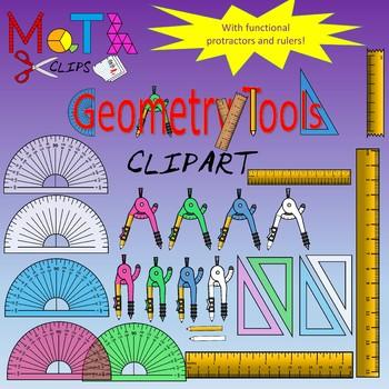 Geometry Tools - Rulers, Protractors, Compasses, Triangles CLIPART