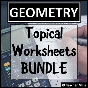 Geometry Topical Worksheets BUNDLE