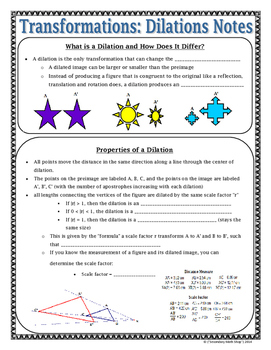 Transformations - Geometry Transformations Dilations Notes and Assignment