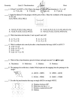 Geometry Transformations Quiz Modified For At Risk or Special Ed