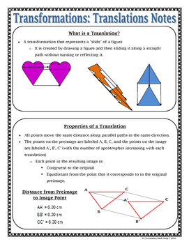 Transformations - Geometry Transformations Translations Notes and Assignment