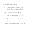 Geometry Transformations Unit Daily Warm Up Questions