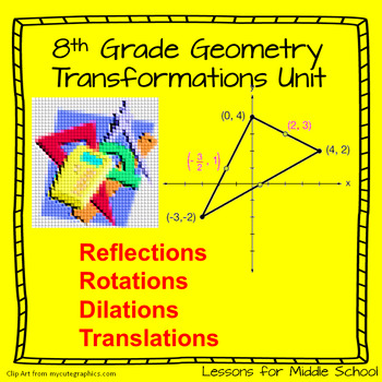 8th Grade Geometry -Translations, Rotations, and Reflections Bundle