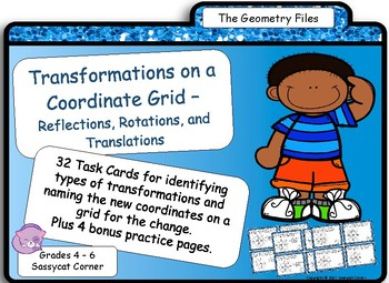 Geometry  - Transformations on a Coordinate Grid Task Cards
