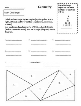 Geometry Triangle Angles Challenge worksheet