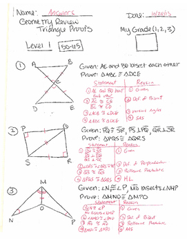 Geometry Triangle Proofs study guide with answers